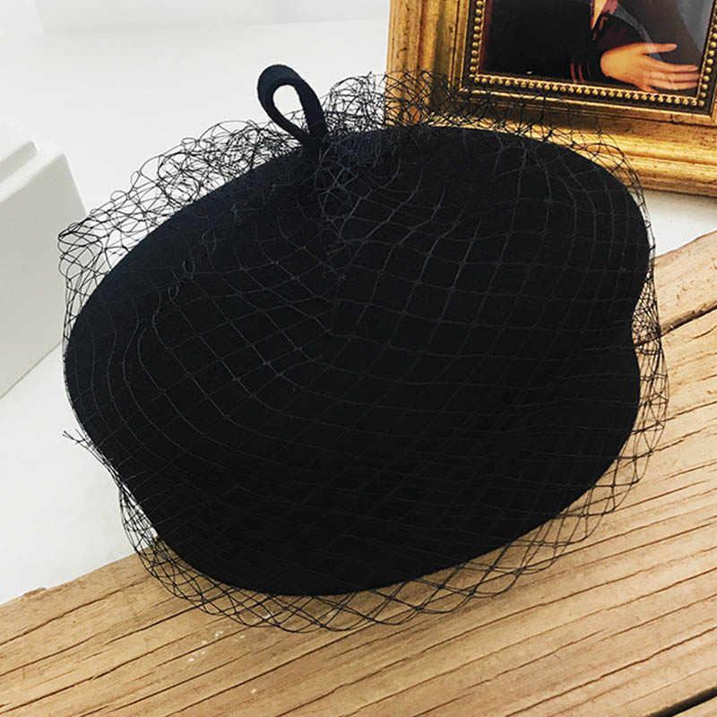 FGHGF Элегантный новый шерстяной фетр зимние шапки Регулируемая вуаль сетки чародей шляпа для женщин Классический Французский Берет СВАД