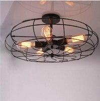 Loft RH style dining room decoration light black loft fan ceiling lamp coffee shop art light bar / bedroom light free shipping