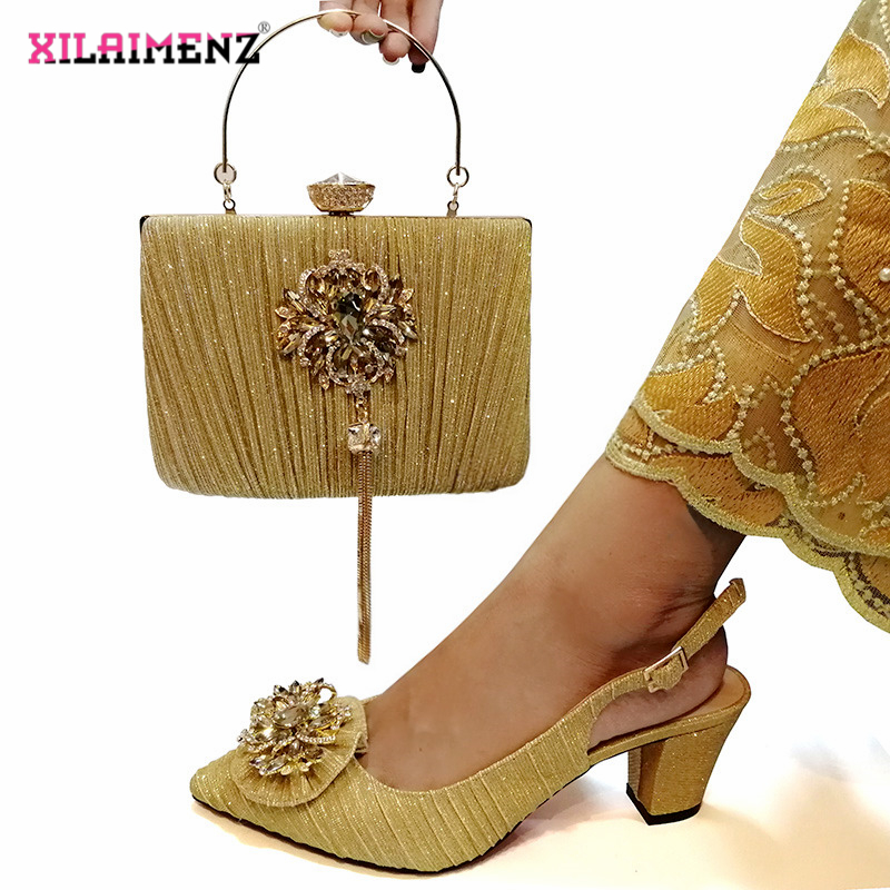 Image 5 - Pink Color Nigerian Sandals with Matching Bag for Woman Pointed  Toe Shoes and Purse Set High Quality with Crystal for PartyWomens  Pumps