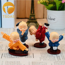 4pcs/set Miniature Monks Figurine Home Decor Cartoon Kungfu Resin Dolls Buddhism Resin Craft Ornaments Free Shipping
