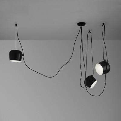 fekete / fehér lámpaernyő vas függő lámpa nappali modern - Beltéri világítás