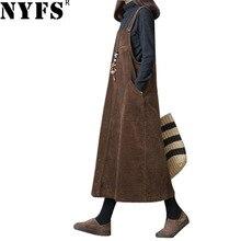 NYFS Новое Осеннее женское платье одноцветное свободное вельветовое платье на бретелях винтажное длинное платье vestidos robe Elbise