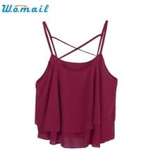 CharmDemon 2016 Sexy Fashion Women  Irregular Summer Strap Floral Print Chiffon Shirt Camisole Vest  jy1