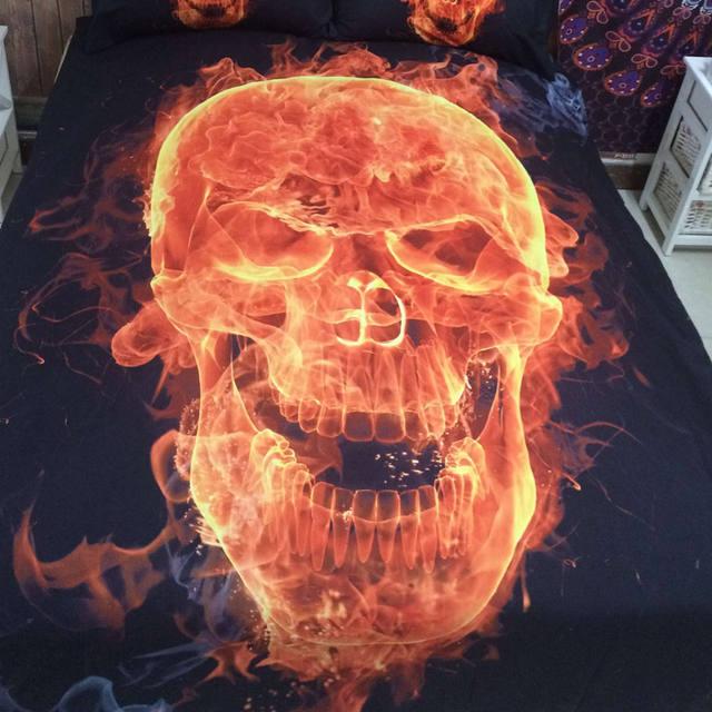 3D SKULL FIRE BEDDING SETS