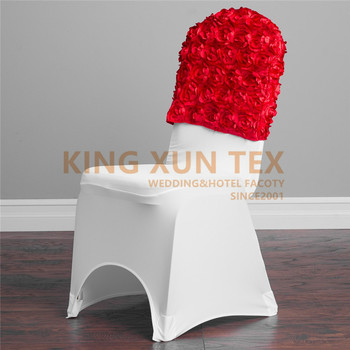 New Design Banquet Wedding Satin Rosette Chair Cap Hood Fit For Lycra Spandex Chair Cover