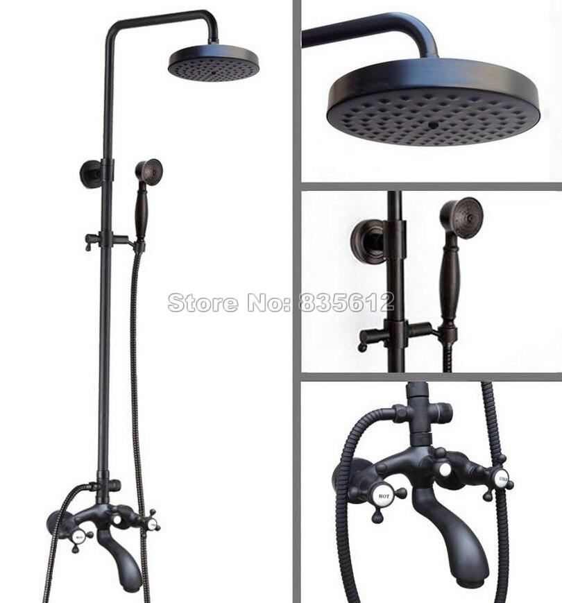 Bathroom Black Oil Rubbed Bronze Wall Mounted Round Shower Head Rain Shower Faucet Set Dual Handles Bath Tub Mixer Tap Whg117