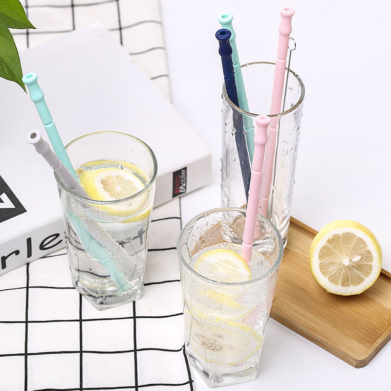 Collapsible Silicone Straw Reusable Folding Drinking Straw with Carrying Case and Cleaning Brush for Travel Home Office Drinks X in Drinking Straws from Home Garden