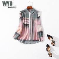 Womens Rainbow Silk Shirts 2019 Spring New England Style Top Brand Fashion Gradual Color Long Sleeve 100% Natural Silk Blouses
