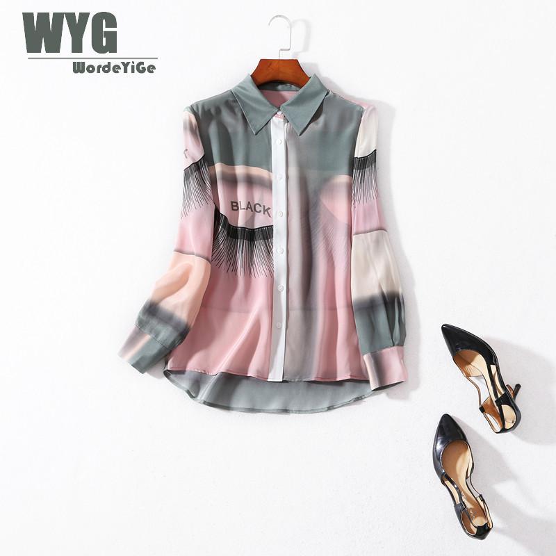 Femmes Arc-En-Soie Chemises 2019 Printemps Nouvelle-Angleterre Style Top Marque De Mode Progressive Couleur Manches Longues 100% Soie Naturelle Blouses