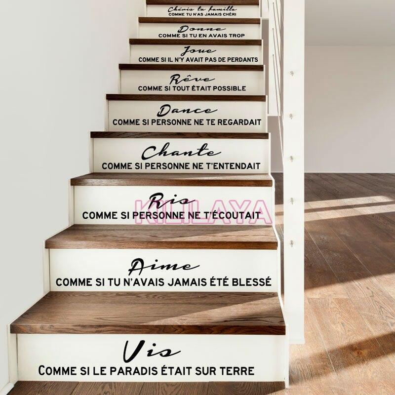 Escaliers Autocollants Stickers Français Citation Cheris ta famille Vinyle stickers Muraux Mur Art pour Salon Décor À La Maison Maison Décoration