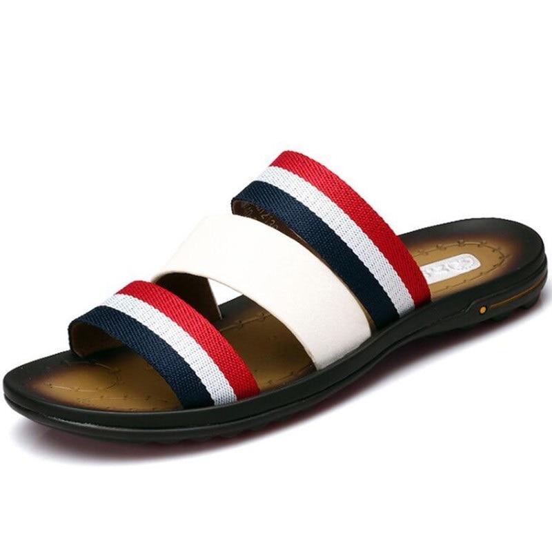 New Summer Men s Slippers Leisure Beach Shoes Rubber Soles Anti wear Non slip Sandals Sandalias