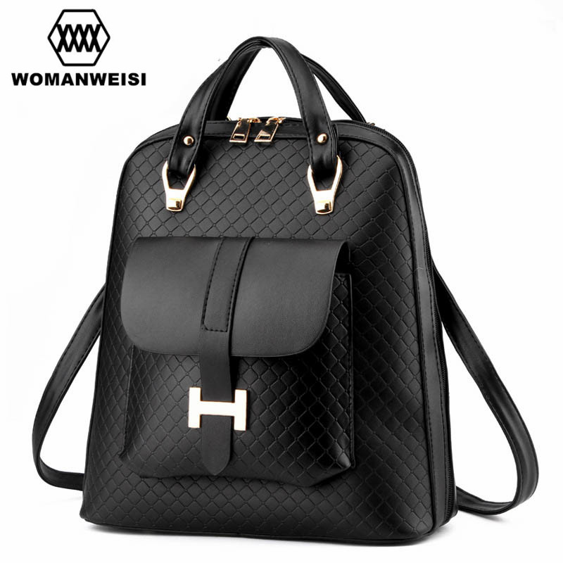 2017 New Fashion Women Travel Backpack High Quality Leather Female Backpack Famous Brand Designer School Bags Mochila Escolar 2017 new arrive famous brand designer women bling bling backpack fashion sequins backpack preppy style girl s school bags xa294b