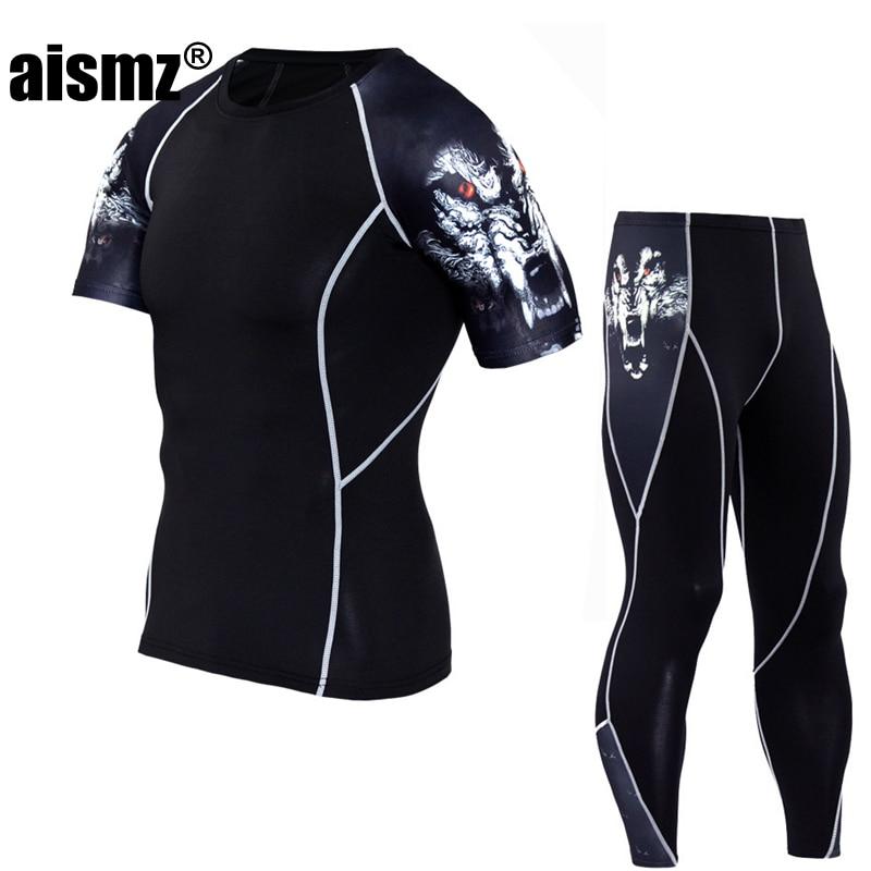 Aismz Fitness MMA Compression Clothes Men Rashguard Male Short Sleeve Suits Crossfit Bodybuilding Men Skull Print 3D Sets
