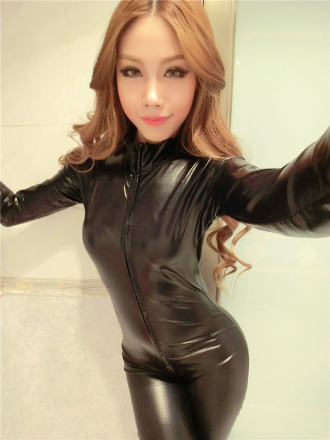 2017 Sexy Siamese Leather long sleeveCatsuit Latex Catsuit Pole Dancing Catsuit elastic black Siamese make someone look slimmer