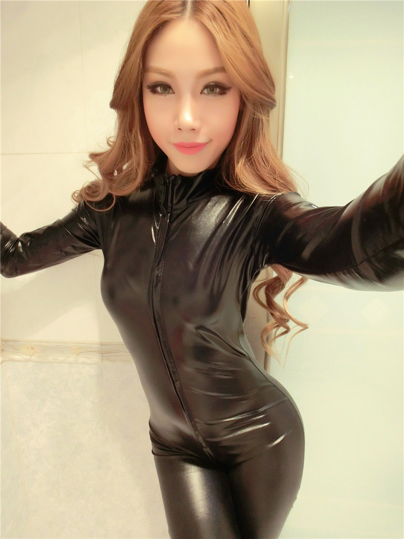 2017 Women Erotic Sexy Elastic Latex Black Costume Play Leather Long Sleeve Pole -3624
