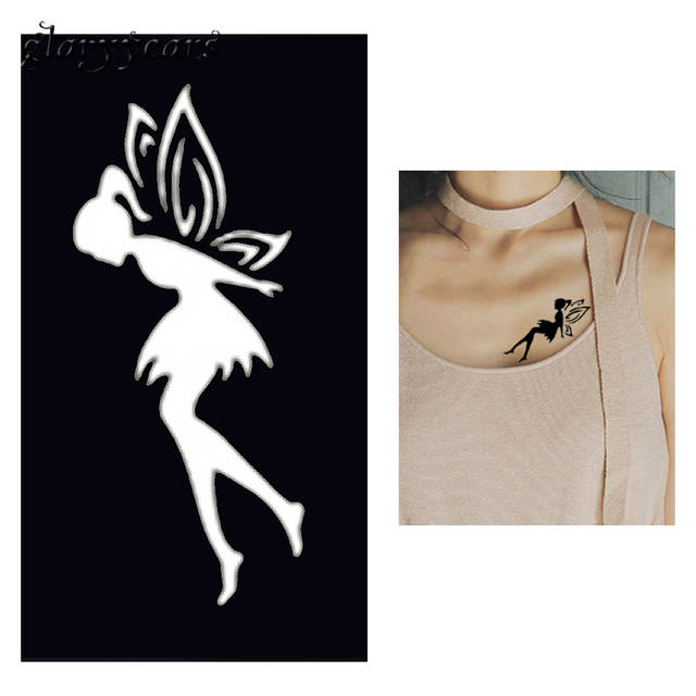 Us 0 47 20 Off 1pc Fairy Butterfly Henna Tattoo Stencil Woman Chest Body Art Small Henna Indian Waterproof Tattoo Sticker Stencil New Style G24 In