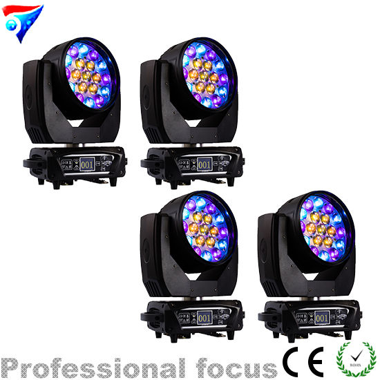 Free Shipping 4pcs/lot 2018 Circle Effect 19x12W RGBW Led Beam Wash Zoom Moving Head Light For Stage Professional Dj Equipment free shipping hot sales 2pcs lot 19x12w led beam wash moving head light with dmx512 for professional stage dj laser projector