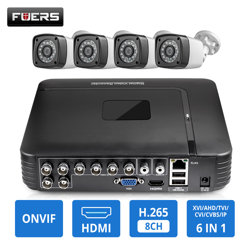 CCTV HD 4MP 1520P 8CH 6in1 AHD DVR H.265 Surveillance System Waterproof Outdoor Camera Security System Video CCTV P2P HDMI Kit