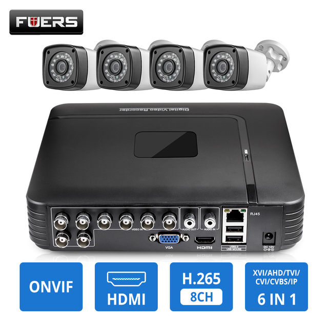 Kamera CCTV HD 4MP 8CH 6w1 ahd dvr H.265 System nadzoru wodoodporna kamera zewnętrzna System bezpieczeństwa wideo CCTV P2P HDMI Kit