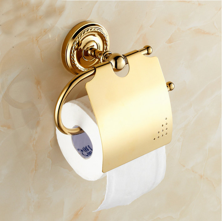 Beelee BA6110G Bathroom Tissue Holder toilet Paper Holder Solid Brass Wall mounted Toilet Roll Holder