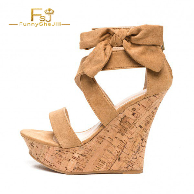 266337855 Woman Shoes Sandals Khaki Cork Wedges Open Toe Flock Side Bow Platform  Ankle Strap Lace-up Casual Fashion Sexy Summer 2018 FSJ