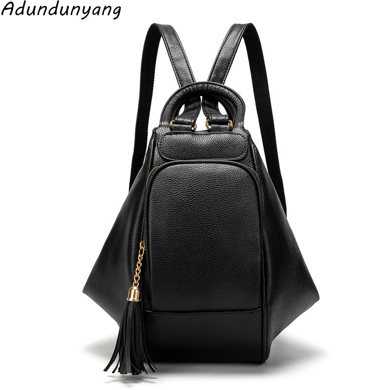 Women Backpack Vintage Tassel Backpacks for Teenage Girls Fashion Large School Bags High Quality PU Leather Black Bag mochila