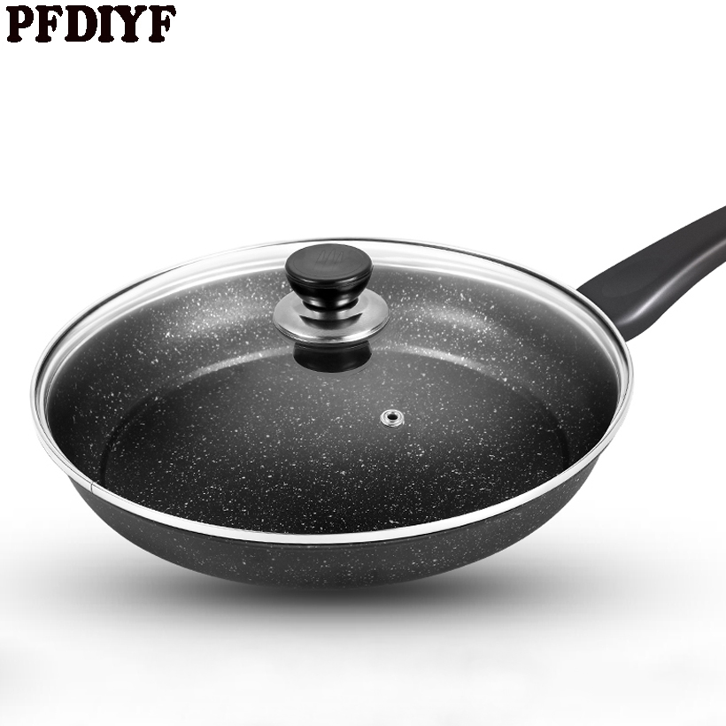 PFDIYF 26 CM Non-Stick Fry Pan Fried Egg Steak Skillet Grill Pan Maifan Stone Frying Pans Cooking Helper With lid & Without lid