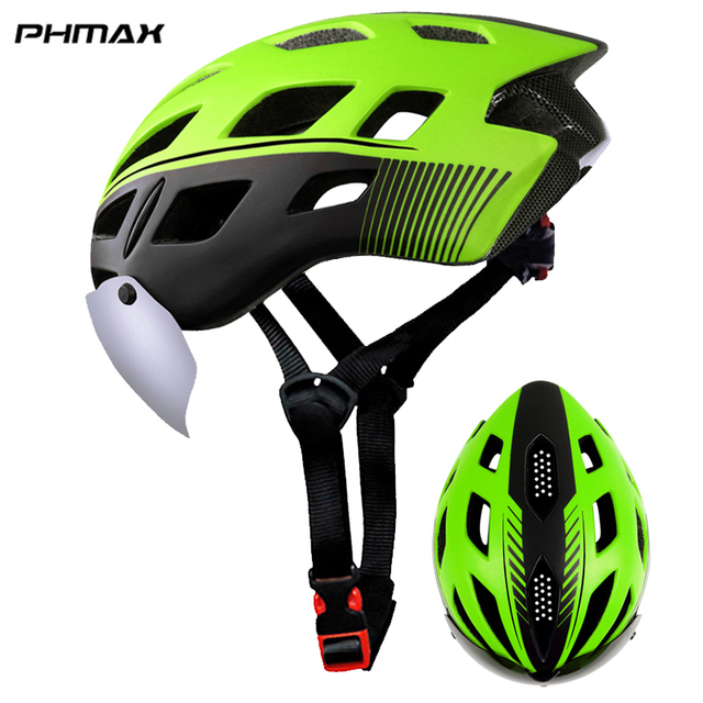 PHMAX 2019 Bicycle Helmet EPS Insect Net Road MTB Bike Windproof 2 Lenses Integrally-molded Helmet Cycling Casco Ciclismo