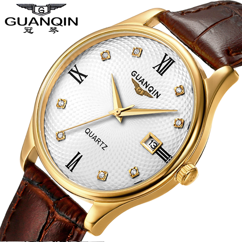 Sapphire Watch Men Original GUANQIN Watch Men Waterproof Quartz Watches Leather Calendar Watches Clock Relogio Masculino original guanqin men watches luminous luxury mens quartz watch sport leather male watches sapphire clock relogio masculino reloj