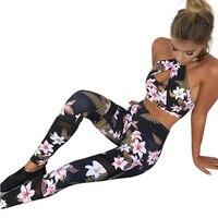 2018 Sportings Suits Leggings Voor Vrouwen Bloemenprint Hoge Elastische Fitness Twee Stukken Top + Leggings Vrouwen Workout Leggings Pakken