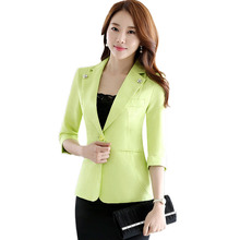 Seyam женская зеленая Куртка Блейзер Лето 3/4 рукавом одной кнопки Карманы офисные Femme Slim Fit Блейзер пиджаки ow0332(China (Mainland))