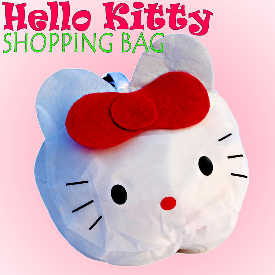 Cartoon Lovely Hello Kitty Cat Animal Foldable Fabric Shopping Bag,Eco-friendly Reusable Portable Handle Bag For Travel Grocery