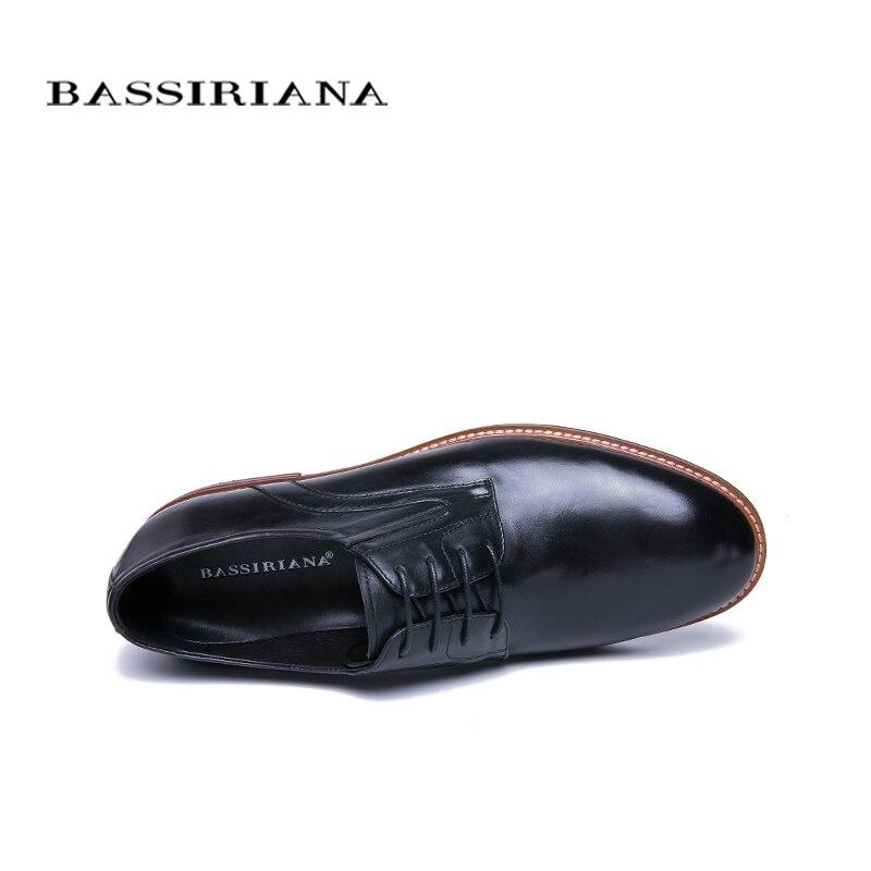 BASSIRIANA 2019 nowe skóra naturalna buty w stylu casual buty męskie formalne Lace up wiosna jesień czarny 39 45 rosyjski rozmiar ręcznie robione w Buty wizytowe od Buty na  Grupa 3