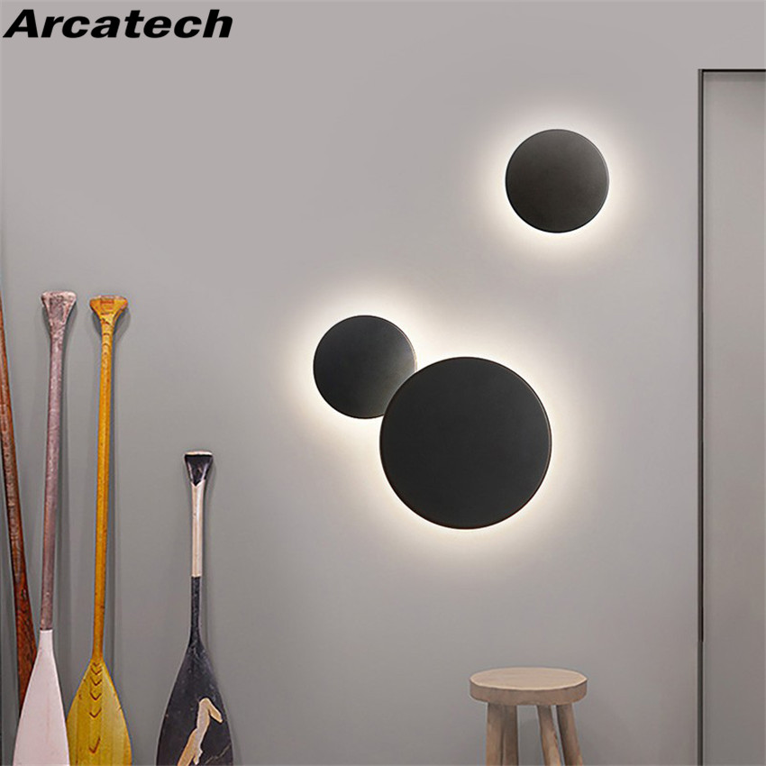 Indoor Round LED Wall Lamp Living Room Decoration Wall Light Aluminum Home Lighting Fixture Loft Stair Light AC90 260V  NR 138-in LED Indoor Wall Lamps from Lights & Lighting