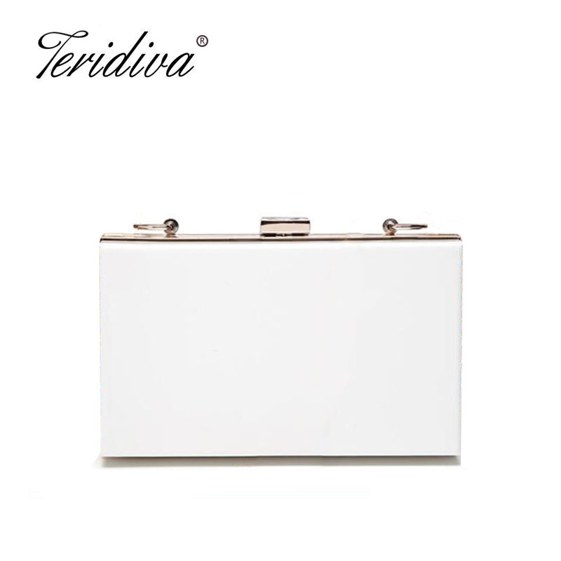 Teridiva Acrylic Transparent Clutch Bag Chain Box Bag Mini Women Messenger Bag Party Day Clutches Purse Wallet Evening Bags new car acrylic women s clutches chain women crossbdoy bags evening bag red car purse women handbags