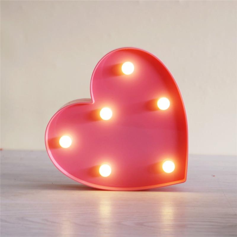 ZESOL Cute 3D Amour Coeur Marquee table LED Veilleuse batterie - Éclairage festif - Photo 5