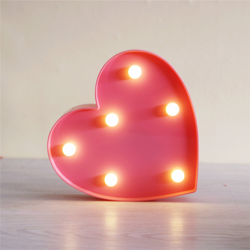ZESOL Lucu 3D Love Heart Marquee meja LED lampu malam lampu bateri - Pencahayaan perayaan - Foto 5