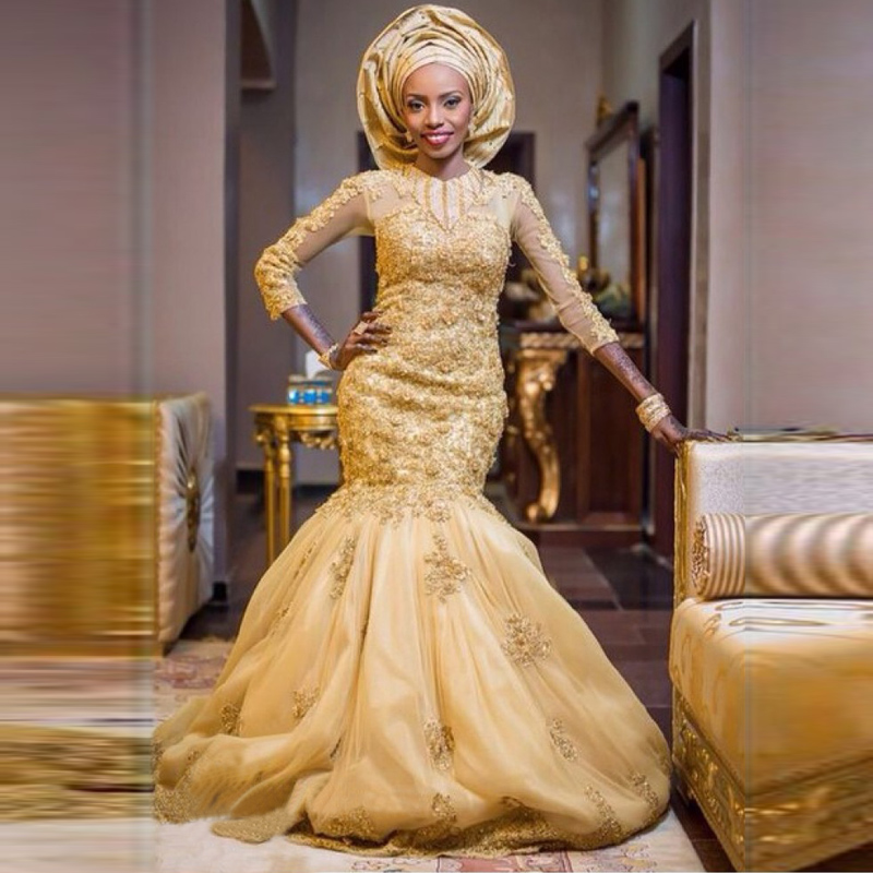 Nigerian Wedding Gowns: Gold Appliqued Mermaid Wedding Dress For Nigeria Women