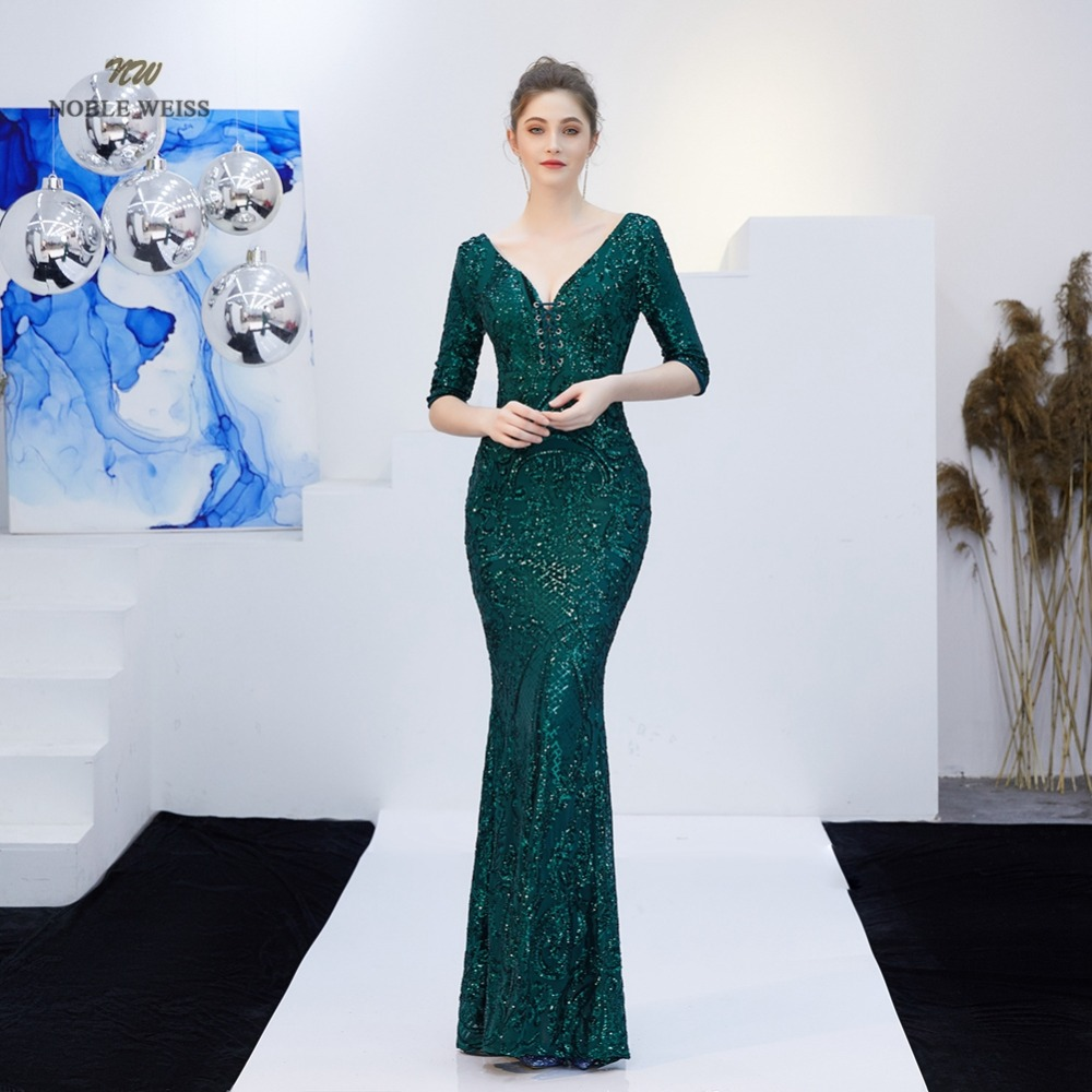 Elegant Mermaid Long   Evening     Dress   Green Sequin Zipper Back Sexy V-Neck Party   Dresses   Prom Gown