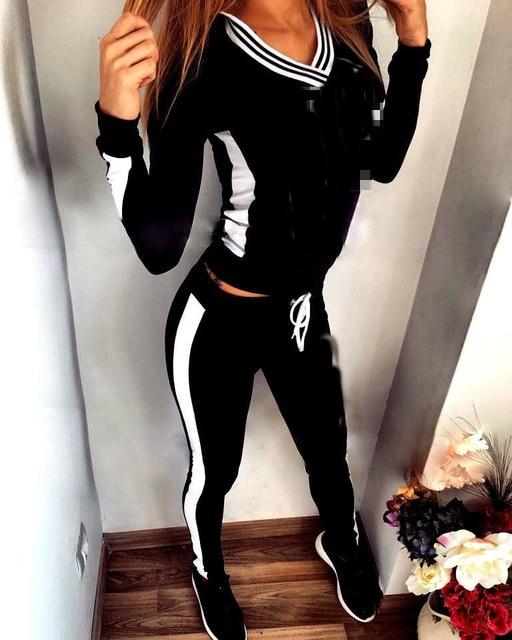 2016 Hot sale! women slim  fitness tracksuit black casual striped top Elastic Pants Workout Clothes jumpsuit
