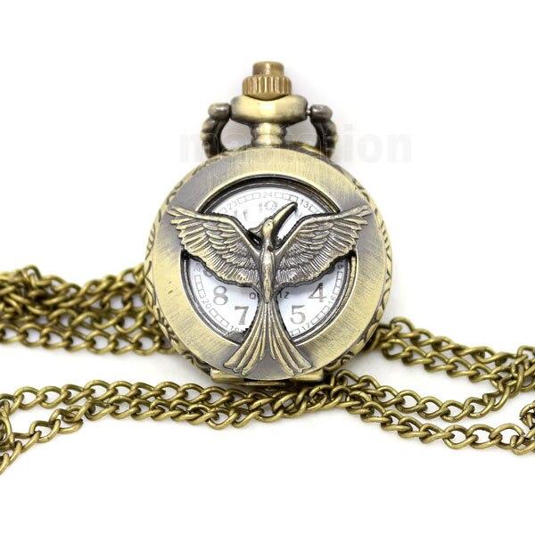 vintage bronze antique bird phoenix hollow pocket watch with long   chain necklace bracelet P539 phoenix phoenix p 4607 1
