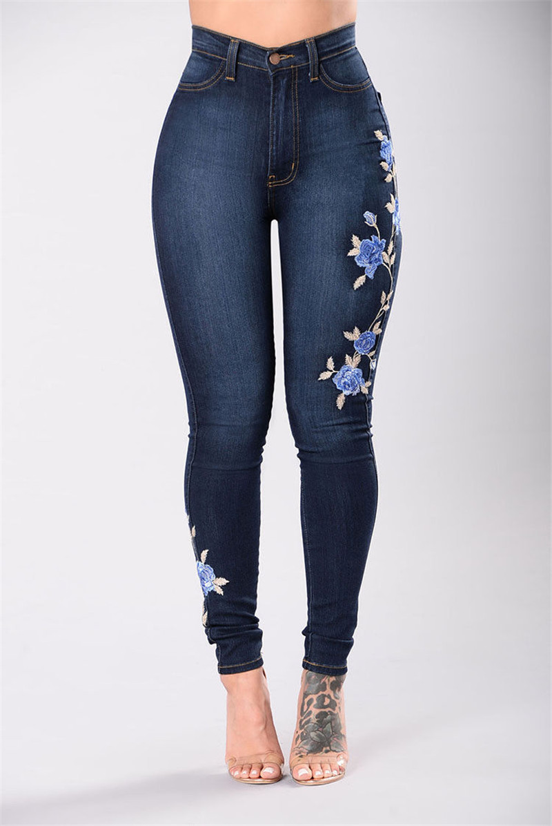 Plus Size Women Embroidery Floral High Waist Empire Jeans Pant Bodycon Slim Demin Skinny Stretch Causal Ieans Trouser Romper New моторное масло wolf vitaltech 5w30 4л