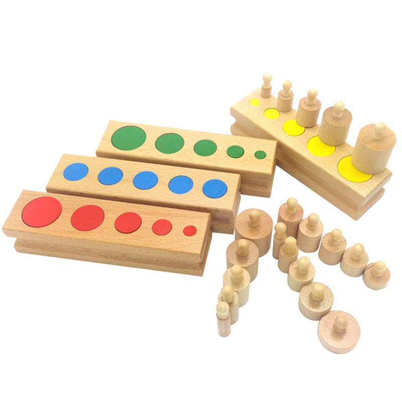 Wooden Toys Montessori Educational Cylinder Socket Colorful Blocks Toy Baby Development Practice And Senses  Russian Warehouse