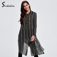 2017 Spring Thin Split X Long Trench Coat Striped Patchwork Long Top Women Autumn Long Sleeve