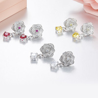 ZOZIRI 925 sterling silver charm rose flowers earrings for women shiny cubic zirconia colorful candy earrings classic jewelry