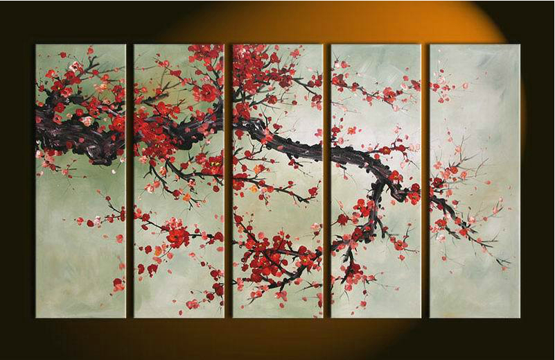 Hand made 5 Pieces Cherry Blossom Painting Abstract red Flower Oil Canvas Wall Art Picture Modern Home Decoration paint Set