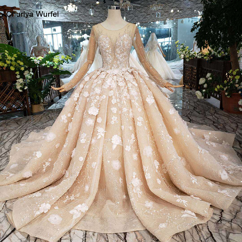 HTL256G Handwork flowers wedding dresses 2019 o-neck long sleeves beads illusion back luxury ball gown wedding gowns with train