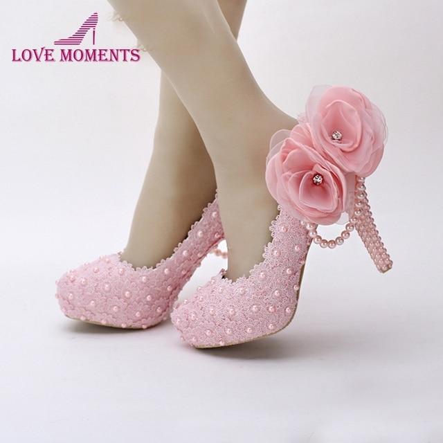 Pink Flower Lace Platform Bridal Shoes Beautiful Women High Heels Handmade Wedding Dress