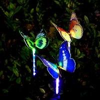 3pcs Garden Solar Lights Outdoor Multi color Changing LED Fiber Optic Butterfly Decorative Light WWO66
