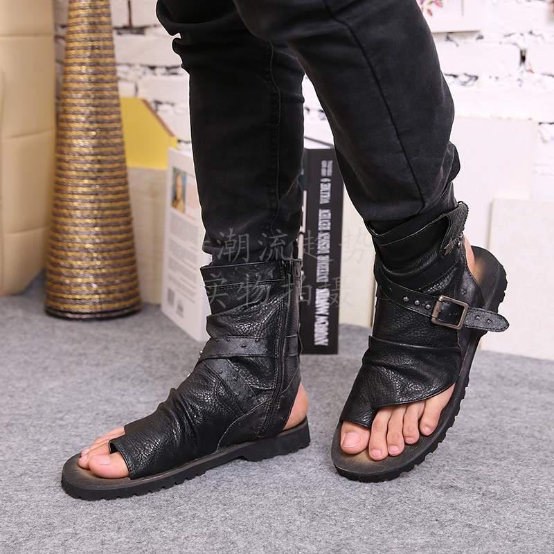 e448df110 New Arrival Men Sandals Black Leather Ankle Buckle Open Toe Thong ...